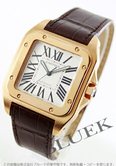 Cartier Santos 100 PG LM Wilsdorf automatic alligator Leather Brown / silver mens W20095Y1