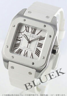 100 Cartier Santos MM automatic rubber white W20129U2
