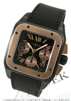 100 Cartier Santos XL PG bezel titanium automatic chronograph canvas leather black men W2020004