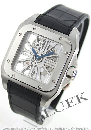 Cartier Santos 100 XL WG & Palladium hand roll with crocodile leather black skeleton mens W2020018