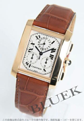 カルティエタンクフランセーズクロノリフレックス YG pure gold leather brown / white men W5000556