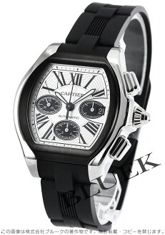 Xmas sale ★ Cartier roadster XL automatic chronograph rubber silver & black long novel men W6206020