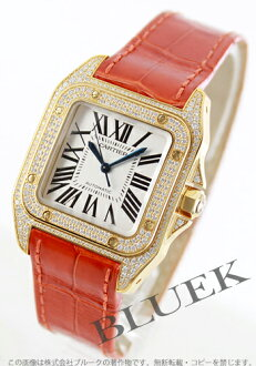 Rakuten Japan sale ★ Cartier Santos 100 MM YG pure gold DIA bezel automatic alligator leather Black / Silver mens WM502051