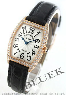 1752 two Xmas sale ★ フランクミュラートノーカーベックス PG pure gold diamond bezel leather black / silver Lady's blue needle QZ D