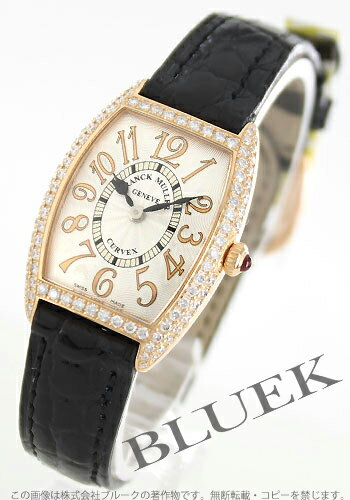 Franck Muller トノーカーベックス relief PG pure gold 2-dia Basel crocodile leather Black / Silver ladies