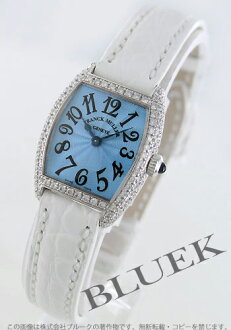 2251 Xmas sale ★ フランクミュラートノーカーベックス WG pure gold diamond bezel black co-leather white / light blue lady's petit QZ D