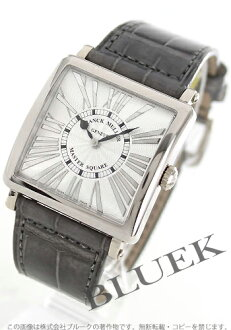 6002 Xmas sale ★ Frank Muller master square relief WG pure gold black co-leather gray / silver Lady's M QZ