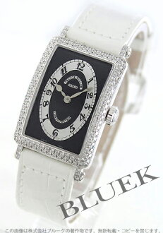 902 Frank Muller Long Island Kurono metro WG pure gold diamond bezel black co-leather white / black Lady's QZ D