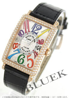 Two 952 Frank Muller Long Island colored races Rihm's PG pure gold diamond bezel leather black / silver Lady's QZ D