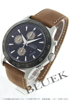 Gucci YA126 G thymeless automatic chronograph tachymeter leather black & brown men YA126240