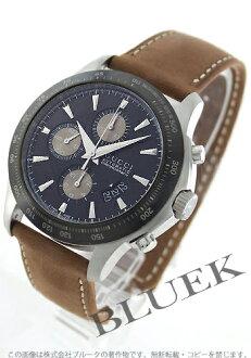 Gucci YA126 G thymeless automatic chronograph tachymeter leather black & brown men YA126240