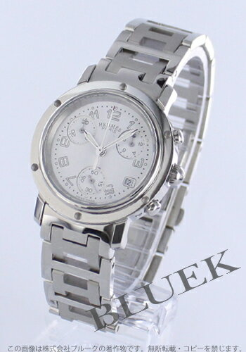 HERMES clipper chronograph white lady's push-type buckle CL1.310.132/3840