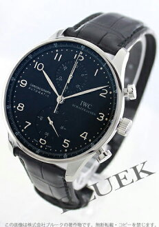 IWC Portuguese automatic chronograph crocodile leather black mens IW371447