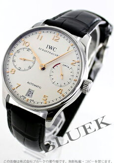 IWC Portuguese automatic 7 days alligator leather black / white men's IW500114