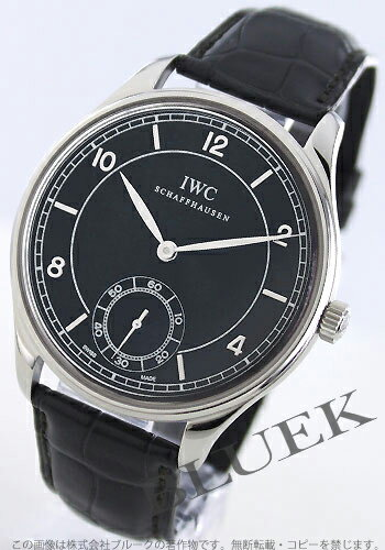 IWC Portuguese hand winding small second alligator leather black mens IW544501