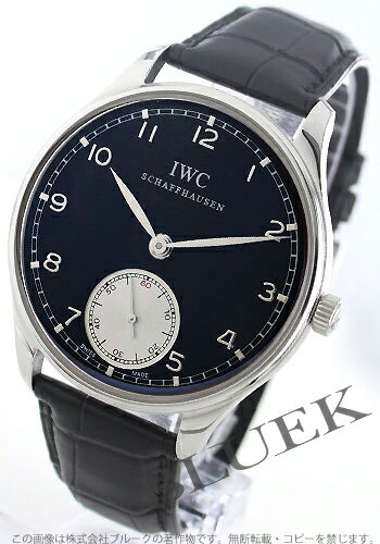 IWC Portuguese hand winding small second alligator leather black & silver men's IW545404