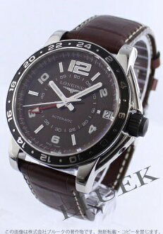 Jin Ron admiral automatic GMT alligator leather brown men L3.668.4.66.3
