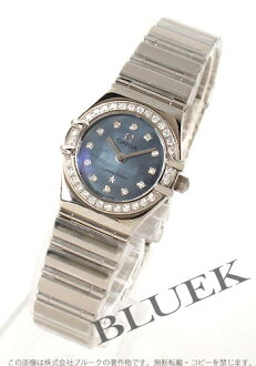Omega Constellation 1165.77 WG pure gold diamond blue shell ladies mini MyChoice