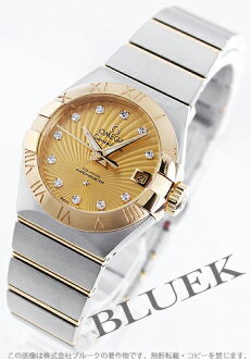 Omega Constellation brushed YG Combi diamond index chronometer gold ladies 123.20.27.20.58.001