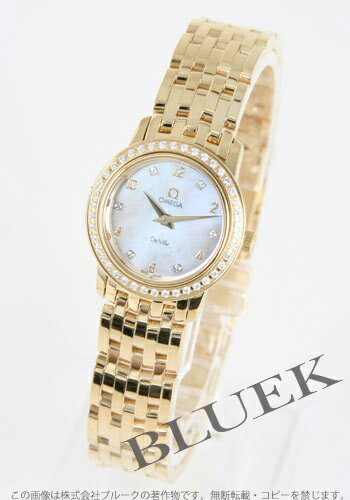 4175.75 Xmas sale ★ omega devil prestige YG pure gold diamond bezel white shell Lady's minis