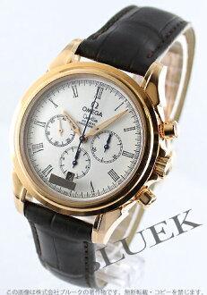 オメガデビルコーアクシャル RG pure gold leather dark brown / silver men 4643.20.32