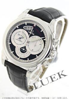 4850.50.31 オメガデビルコーアクシャルクロノスコープ chronometer leather black & silver men