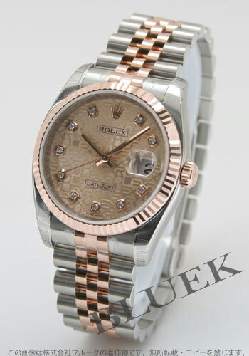 Rolex Ref.116231J Datejust diamond index PG Combi pink mens
