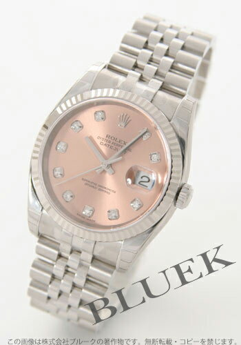 Rolex Ref.116234G Datejust diamond index WG bezel pink mens