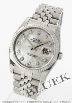 Rolex Ref.116234NG Datejust WG bezel 5 breath white shell men's diamond indexes