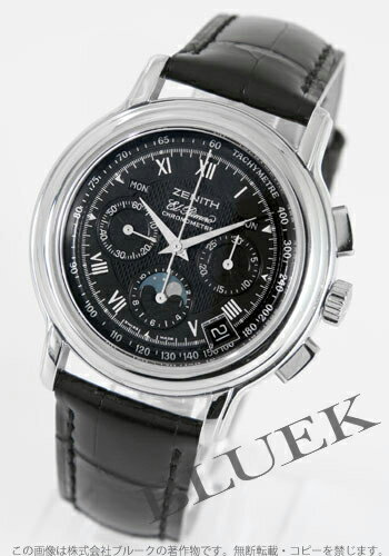 Zenith Kurono master T L primero chronograph moon phase alligator leather black men 01.0240.410/23.C495