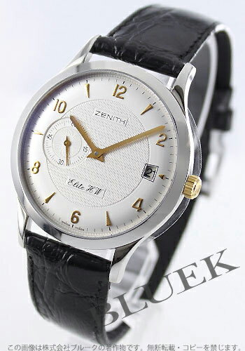 Zenith class elite K W hand winding small second leather Black / Silver mens 01.1125.650/02.C495