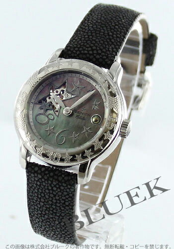 Zenith baby star opening sea automatic Galusha leather black shell Lady's 03.1223.68/83.C598