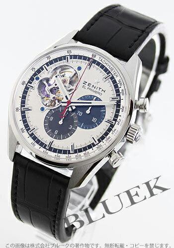 Rakuten Japan sale ★ Zenith El Primero chronograph master 1969 アリゲーターレザー Black/Silver & blue & gray mens 03.2040.4061/69.C496
