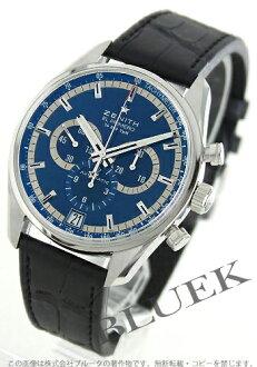 Zenith L primero 36000VpH Charles ベルモトリビュートレザーブラック / blue men 03.2041.400/51.C496