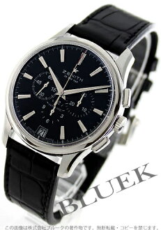 Zenith Captain automatic chronograph with crocodile leather black mens 03.2110.400/22.C493