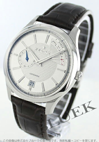 Rakuten Japan sale ★ Zenith elite Captain power reserve with crocodile leather dark brown / silver mens 03.2120.685/02.C498