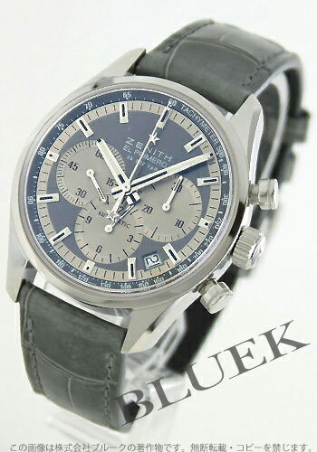 Xmas sale ★ Zenith L primero 36000VpH chronograph tachymeter alligator leather gray & silver men 03.2150.400/21.C706