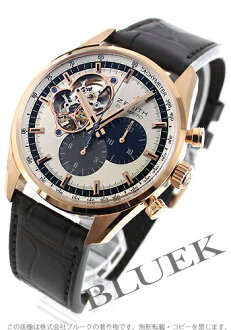 1969 Zenith L primero Kurono master RG pure gold automatic leather brown / silver men 18.2040.4061/69.C494