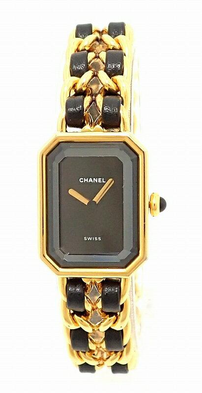 【ウォッチ】CHANEL シャネル プルミエール Lサイズ ブラック文字盤 ゴールドメッキ レディース QZ クォーツ 腕時計 H0001 【】【u】【Blumin/森田質店】【質屋出店】