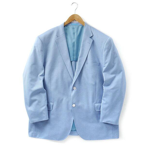 【送料無料】【大きいサイズ】【メンズ】[2L・3L・4L・5L]チーフ付ニットジャケット サックス 121318-85
