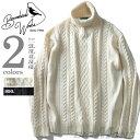 【大きいサイズ】【メンズ】Bowerbirds Works ウール混アイルステッチタートルネックセーター【秋冬新作】azk-170492