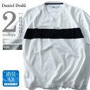 大きいサイズ メンズ DANIEL DODD ニット切替Vネック半袖Tシャツ azt-170298
