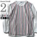 【大きいサイズ】【メンズ】DANIEL DODD ストライプ切替トレーナー azsw-180466