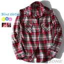 【送料無料】【大きいサイズ】【レディース】Blue earth フランネルチェックシャツ azld-140402