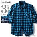 【大きいサイズ】【メンズ】DANIEL DODD 7分袖インディゴブロックチェックシャツ azsh-160230【10P03Dec16】