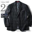 【送料無料】【大きいサイズ】【メンズ】SARTORIA BELLINI ウール混ウィンドペン柄ジャケット azjkvg-08【10P03Dec16】