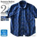 【大きいサイズ】【メンズ】SARTORIA BELLINI 半袖ドビーチェックワイドカラーシャツ azsh-180237