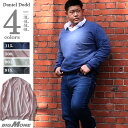 【WEB限定】大きいサイズ メンズ DANIEL DODD ハイゲージ天竺Vネックセーター azk-180146