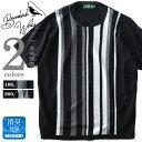 【WEB限定価格】【大きいサイズ】【メンズ】Bowerbirds Works ストライプデザイン半袖サマーセーター azk-1802105