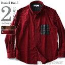 【大きいサイズ】【メンズ】DANIEL DODD 長袖コーデュロイポケットチェック切替ボタンダウンシャツ 916-180527